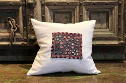 Vintage Linen with Antique Mirrored Embroidery Cushion